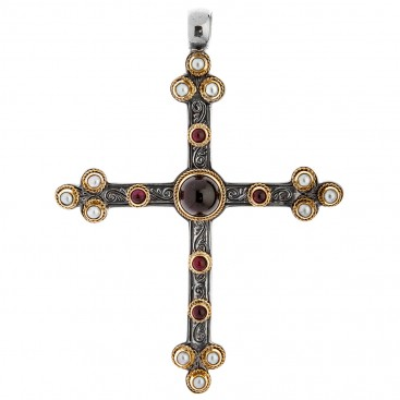Savati Solid Gold & Silver Large Byzantine Budded Cross Pendant with Stones