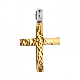 Savati 22K Solid Yellow Gold & Silver Hammered Cross Pendant