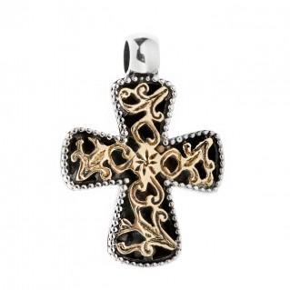 Savati Solid Gold & Sterling Silver Byzantine Filigree Cross Pendant