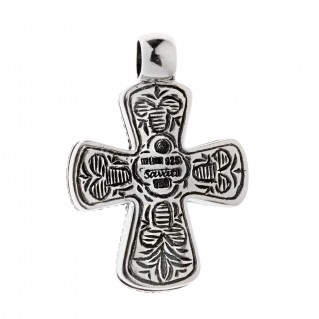 Savati Solid Gold & Sterling Silver Byzantine Filigree Cross Pendant