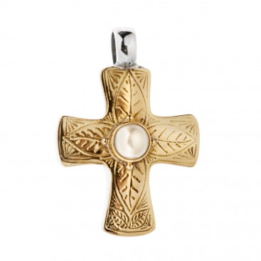 Savati 22K Solid Gold & Silver Byzantine Cross Pendant with Pearl