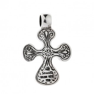 Savati Solid Gold & Silver Byzantine Filigree Cross Pendant