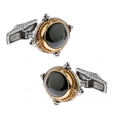 Savati Solid Gold, Silver & Black Onyx Byzantine Oval Cufflinks