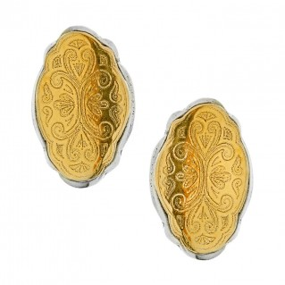 Savati 22K Solid Gold & Sterling Silver Byzantine Large Clip Earrings
