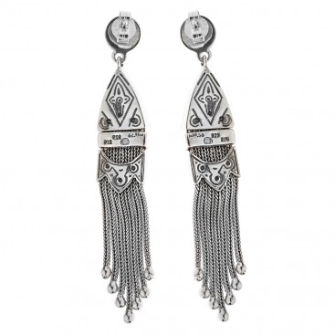 Savati Solid Gold & Sterling Silver Byzantine Long Dangle Earrings