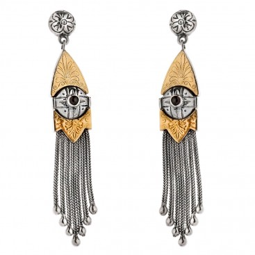 Savati Solid Gold and Silver Byzantine Long Dangle Earrings with Garnet