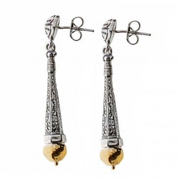 Savati Solid Gold and Silver Byzantine Long Drop Earrings