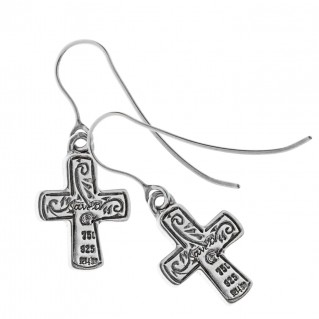 Savati 18K Solid Gold and Silver Byzantine Cross Earrings