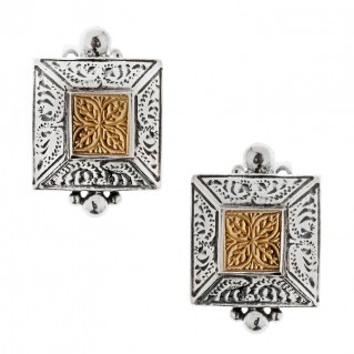 Savati Solid Gold and Sterling Silver Byzantine Stud Earrings