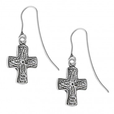 Savati 22K Solid Gold & Silver Hammered Cross Earrings