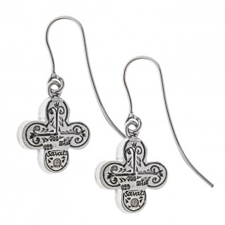 Savati Solid Gold and Sterling Silver Byzantine Cross Earrings