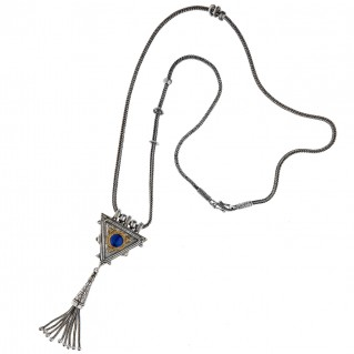 Savati Solid Gold & Silver Byzantine Multi Gemstone Triangle Fringed Necklace