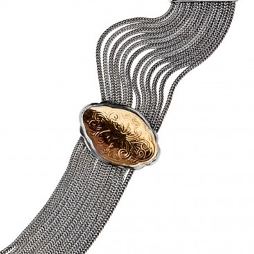 Savati Solid Gold & Silver Byzantine Multi-Chain Station Necklace