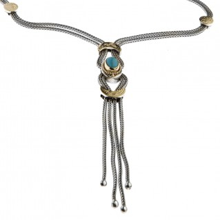 Savati Solid Gold & Silver Byzantine Multi Chain Fringed Necklace