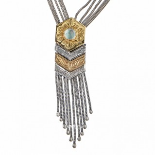 Savati Solid Gold & Sterling Silver Byzantine Multi Chain Fringed Necklace