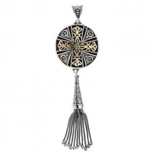 Savati 18K Solid Gold & Silver Byzantine Large Fringed Pendant