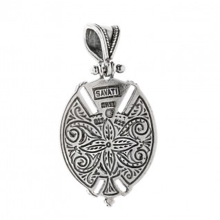 Savati Solid Gold and Sterling Silver Byzantine Pendant with MOP