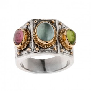 Savati 22K Solid Gold & Silver Multi Stone Byzantine Band Ring