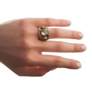 Savati 22K Solid Gold & Silver Multi Stone Byzantine Band Ring