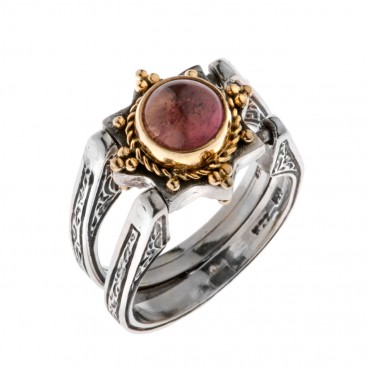 Savati 22K Solid Gold & Silver Swivel Flip Ring with Tourmaline