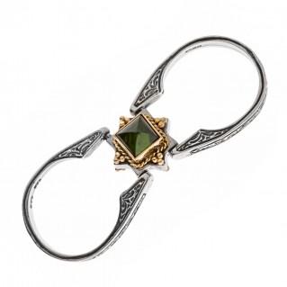Savati 22K Solid Gold & Silver Swivel Flip Ring with Tourmaline