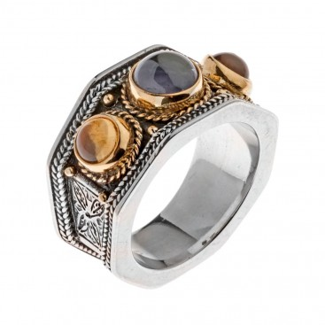 Savati Solid Gold & Sterling Silver Multi Stone Byzantine Band Ring
