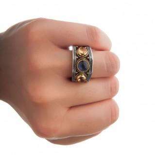 Savati Solid Gold & Sterling Silver Multi Stone Byzantine Band Ring
