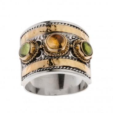 Savati 22K Solid Gold & Silver Multi Stone Byzantine Large Band Ring