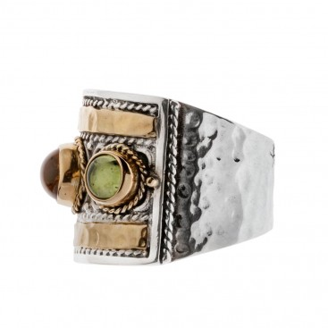 Savati 22K Solid Gold & Silver Multi Stone Byzantine Large Band Ring