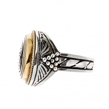 Savati 22K Solid Gold & Silver Double Axe Labrys Men's Ring