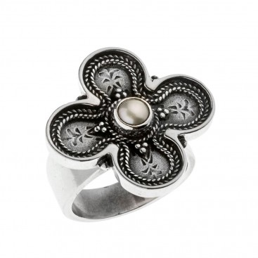 Savati Sterling Silver Byzantine Large Cross Ring with Pearl