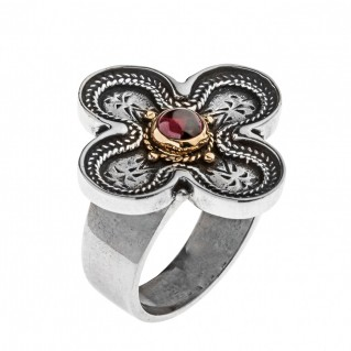 Savati 22K Solid Gold & Silver Byzantine Large Cross Ring with Garnet