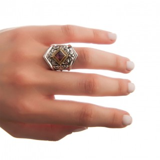 Savati Solid Gold & Sterling Silver Byzantine Single Stone Large Ring