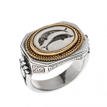 Savati 22K Solid Gold & Silver Dolphins Signet Ring