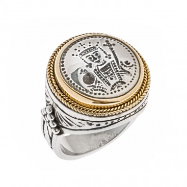 Savati 22K Solid Gold & Sterling Silver Constantine the Great Ring