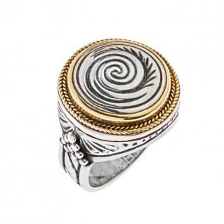 Savati 22K Solid Gold & Silver Large Spiral Ring