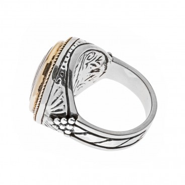 Savati 22K Solid Gold & Silver Large Spiral Ring