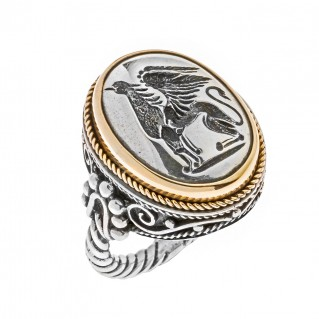 Savati 22K Solid Gold & Silver Griffin Signet Ring
