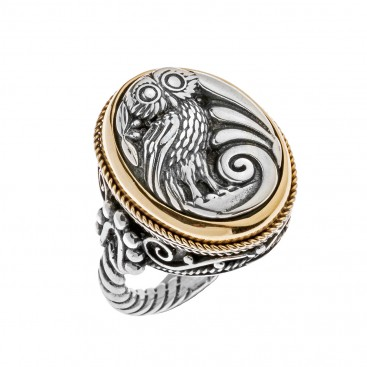 Savati 22K Solid Gold & Silver Wise Little Owl Signet Ring