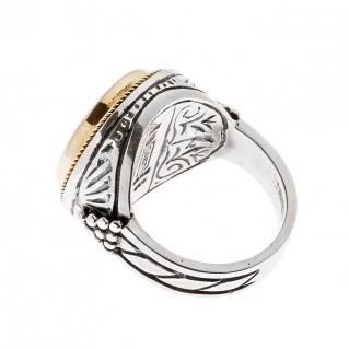 Savati 22K Solid Gold & Silver Goddess Athena Single Sided Coin Ring