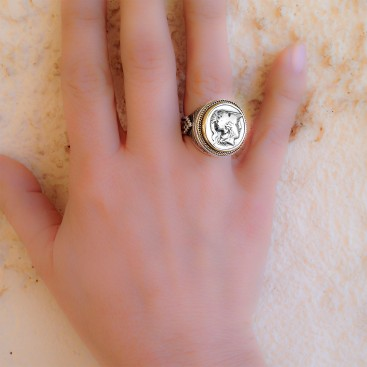 Savati 22K Solid Gold & Silver Goddess Athena Single Sided Coin Ring