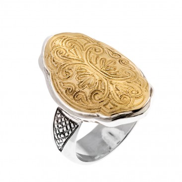 Savati 22K Solid Gold & Silver Byzantine Large Ring