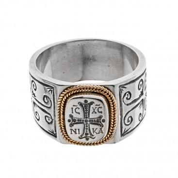 Savati Solid Gold & Sterling Silver Byzantine Cross Band Ring
