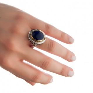 Savati 22K Solid Gold & Silver Cocktail Ring with Lapis Lazuli