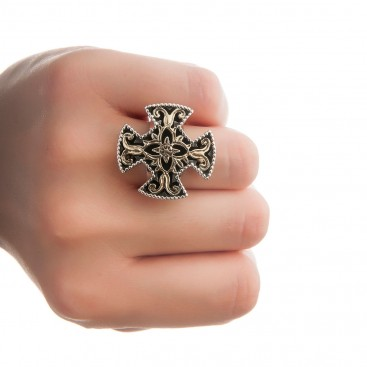 Savati 18K Solid Gold & Sterling Silver Byzantine Large Cross Ring