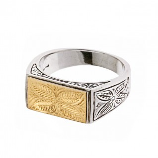 Savati 22K Solid Yellow Gold & Sterling Silver Byzantine Band Ring