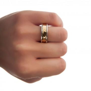Savati 22K Solid Yellow Gold & Silver Band Ring