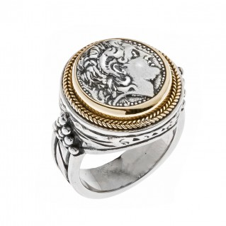 Savati 22K Solid Gold & Silver Alexander the Great Single Sided Coin Ring