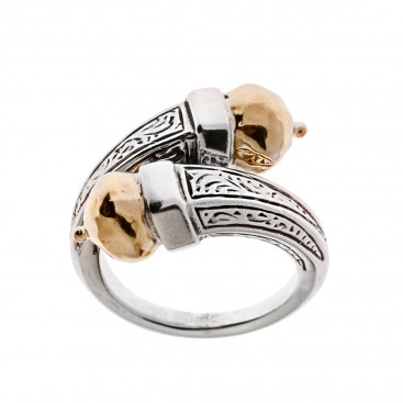 Savati Solid Gold & Sterling Silver Byzantine Bypass Wrap Ring