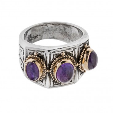 Savati Solid Gold and Sterling Silver Multi Stone Byzantine Band Ring